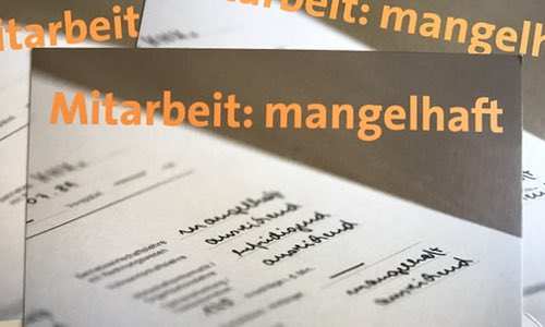 Note MANGELHAFT für Bildungsministerium ----- TLV-Postkarten-Aktion: Mitarbeit mangelhaft!